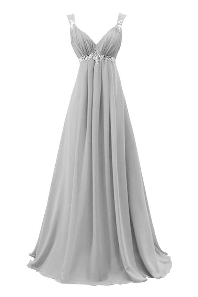 Sunvary 2015 Bridesmaid Dress Evening Dress for Wedding Long Chiffon US Size 18W- Silver