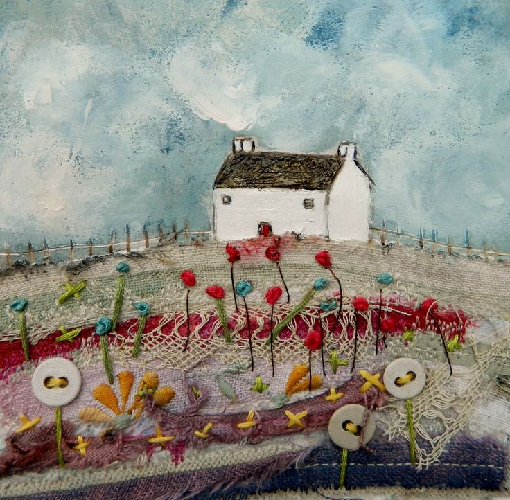 'A cottage on Bluebell meadow' By Louise O'Hara of DrawntoStitch www.facebook.com/DrawntoStitch