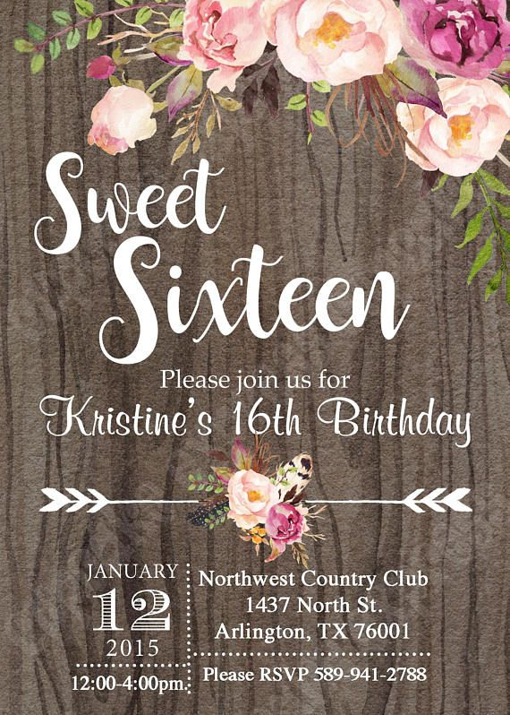 16th birthday invitations sweet 16
