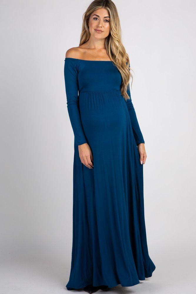 edb0dfaf0594 Burgundy Solid Off Shoulder Maternity Maxi Dress | Maternity Photo ...