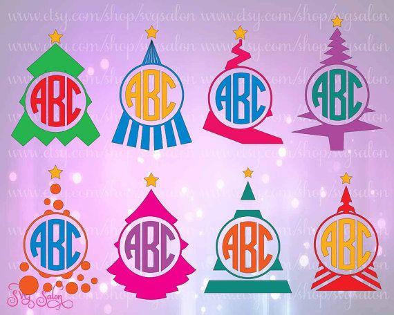 Albero di Natale sagoma Monogram cornice HTV / Set di adesivi in vinile taglio File in Svg, Eps, Dxf e Jpeg