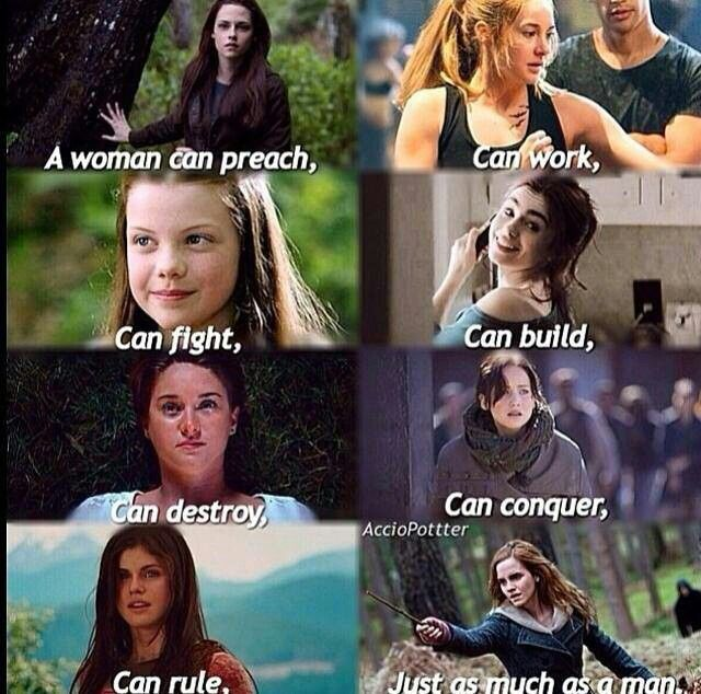"""Bella, get out. You are a horrible """"role model"""" for girls. Everyone else on the post is a great role model. Twilight-Bella, Divergent-Tris, Chronicles of Narnia-Lucy, The Mortal Instruments-Clary, The Fault in Our Stars-Hazel, The Hunger Games-Katniss, Percy Jackson and the Olympians/ Heroes of Olympus-Annabeth, Harry Potter-Hermione."""