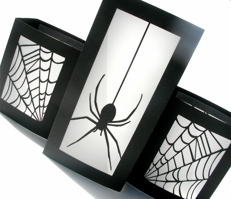 halloween table luminaries spider party decorations black and white home decor