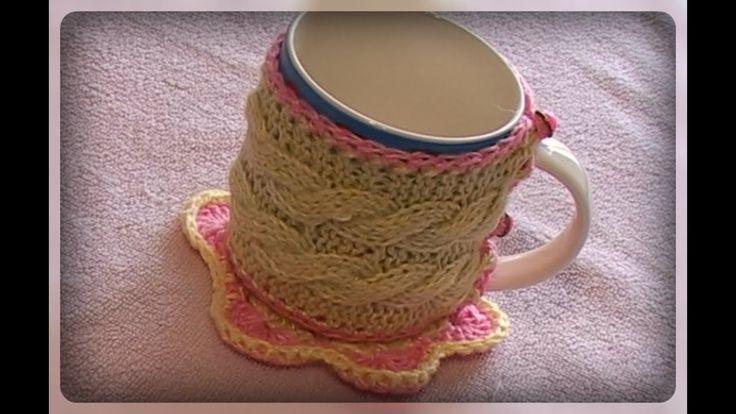 Как связать чехол для чашки  в подарок, вязание спицами