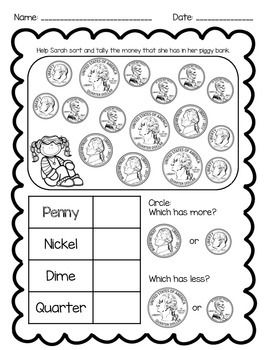 In this printable, students will recognize and tally pennies, nickels, dimes, and quarters, as well as answer two more or less questions.Crisp, clean coin images!Includes 2 versions: one printable with only the front of coins, and a second with both front and backs of coins for differentiation!Goes great with my Coin Recognition Roll & Tally Math Center game, found here:Coin Recognition Roll & Tally Math CenterEnjoy!Alicia Broughton
