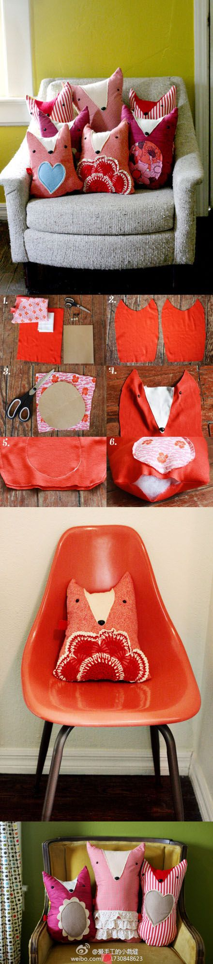 Super cute #fox pillow sewing project, using different materials for #applique, and utilizing simple stitches so any level of experience can complete it!