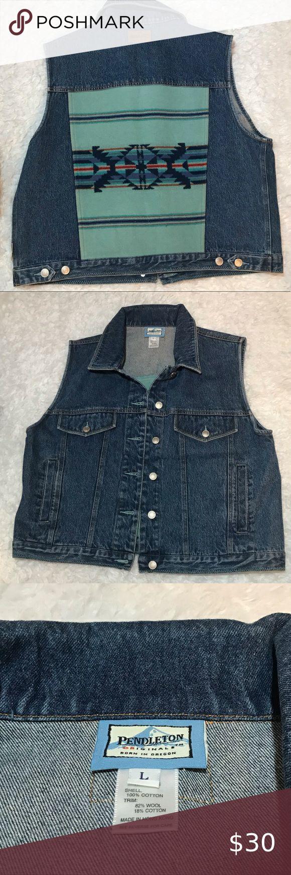 Pendleton Blue Jean Vest Wool Aztec Back Blue Jean Vest Jean Vest Blue Jean Jacket [ 1740 x 580 Pixel ]