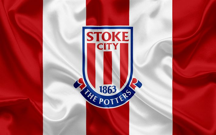 Download wallpapers Stoke City FC, Premier League, football, Stoke-on-Trent, United Kingdom, England, flag, emblem, Stoke City logo, English football club