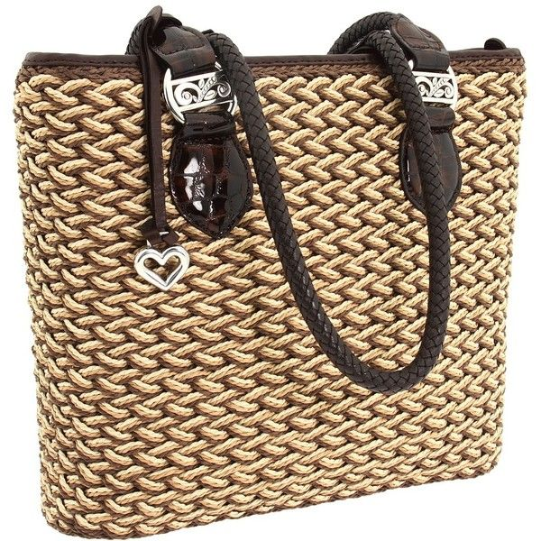 Brighton Eva Straw Tote ($210) ❤ liked on Polyvore featuring bags, handbags, tote bags, brighton purses, hand bags, brighton handbags, summer tote bags and straw tote