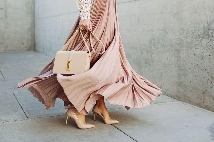 Lace top, blush pleated maxi skirt, Miu Miu shoes, YSL bag | Dash of Darling