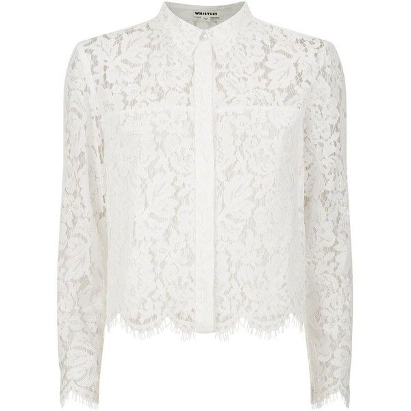 Whistles Chay Lace Cropped Shirt | Harrods ($220) ❤ liked on Polyvore featuring tops, white lace shirt, lacy white top, lacy shirts, white crop top and shirts & tops