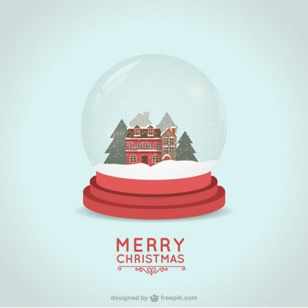 Christmas card with snowball Free Vector