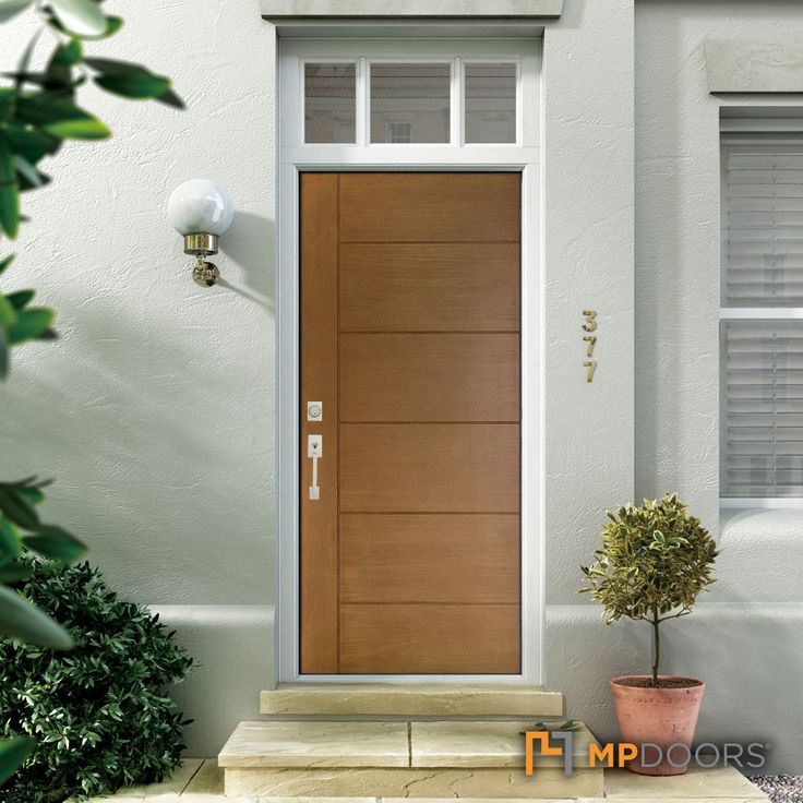 Mp Doors 36 In X 80 In Contemporary Teak Modern Light