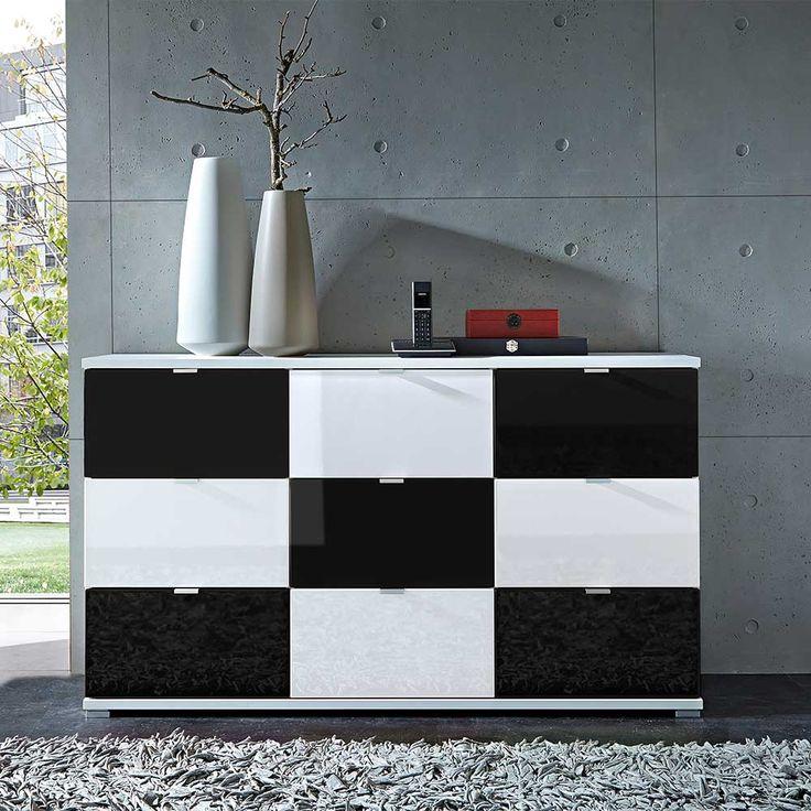 Simple Design Sideboard in Schwarz Wei Hochglanz Schubladen Jetzt bestellen unter https moebel ladendirekt de wohnzimmer schraenke sideboards uid udcbe