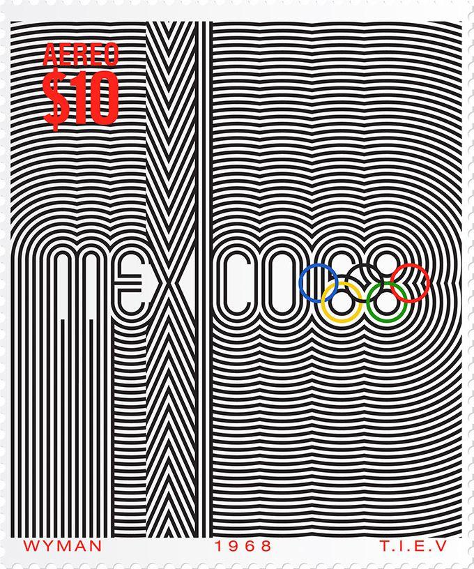 Lance Wyman, 1968 Mexico City Olympic Games, Postage stamp, ca. 1968