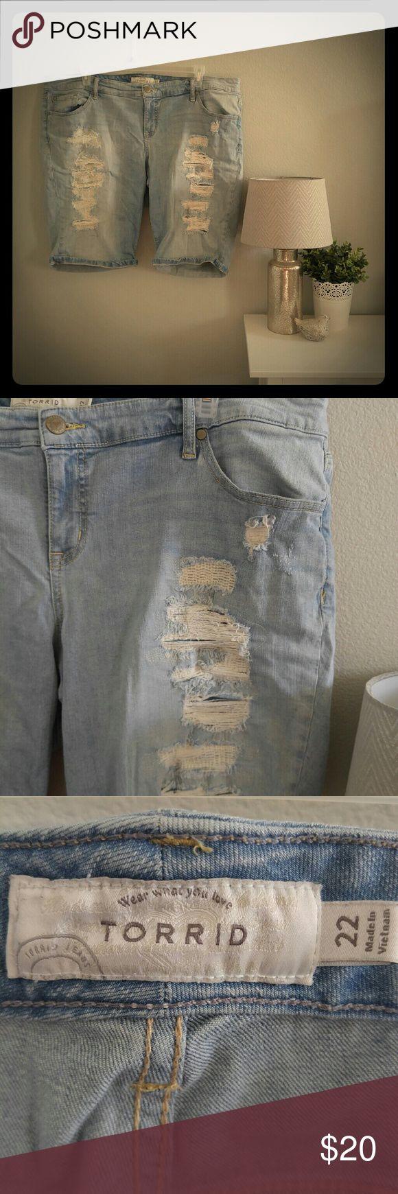 Torrid BF BermudaShorts Light/Repaired Destruction Torrid Boyfriend Bermuda shorts light wash with repaired destruction. torrid Shorts Jean Shorts