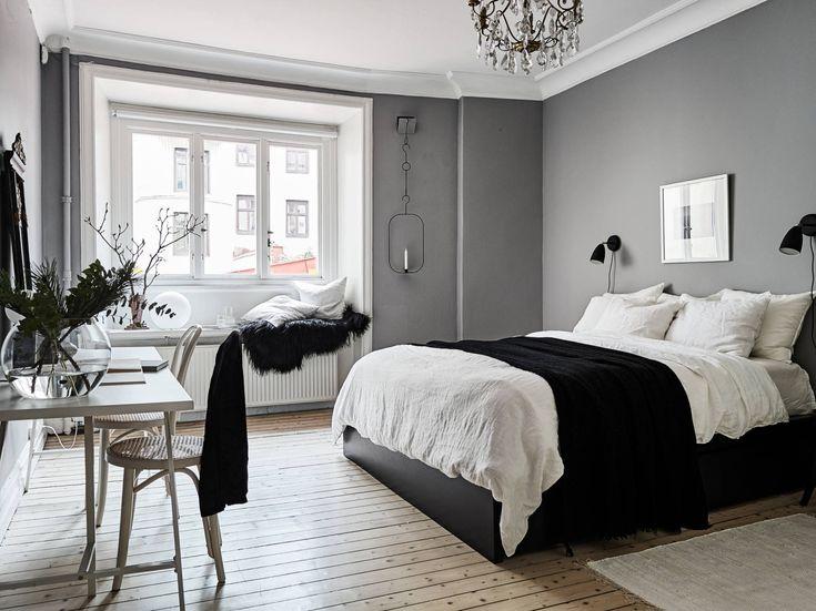 Scandinavian bedroom with window seat