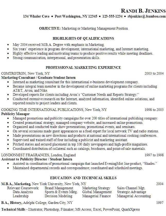 15. Marketing Resume Objective Inspiration Marketing Resume