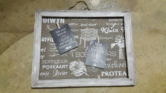 Recycled frame and chicken wire notice board by Deirdre P
