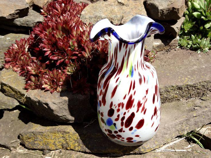 Vintage Vasen - Vase Glasvase Buntflecken 70er Retro Aventurin - ein Designerstück von AlmaArt1 bei DaWanda