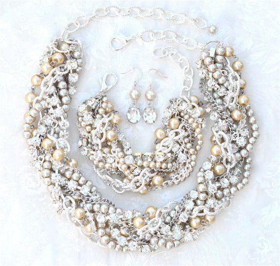 Klobige Hochzeit Halskette Champagner Bridal Anweisung