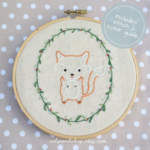 Little Fox Hand Embroidery PDF Pattern Instand by solipandishop