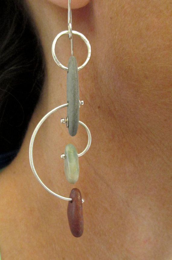 Earrings - Sterling Silver - Modernist Style Hoop Kinetic - Beach Stone - Silversmith - RMD Designs www.rmddesigns.com