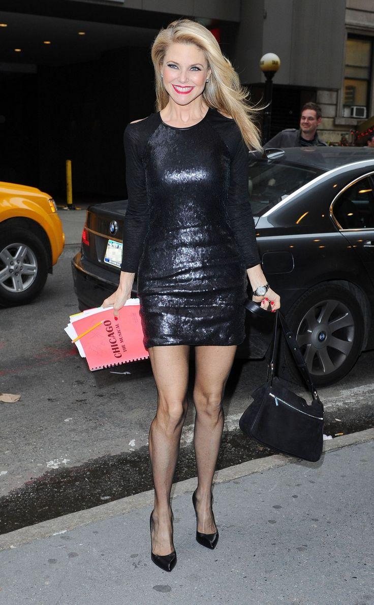 Christie Brinkley In A Shiny Black Mini Dress Christie