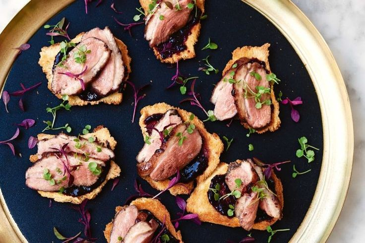 Shake up your entertaining with this gourmet Cherry-glazed duck breast on brioche toasts.