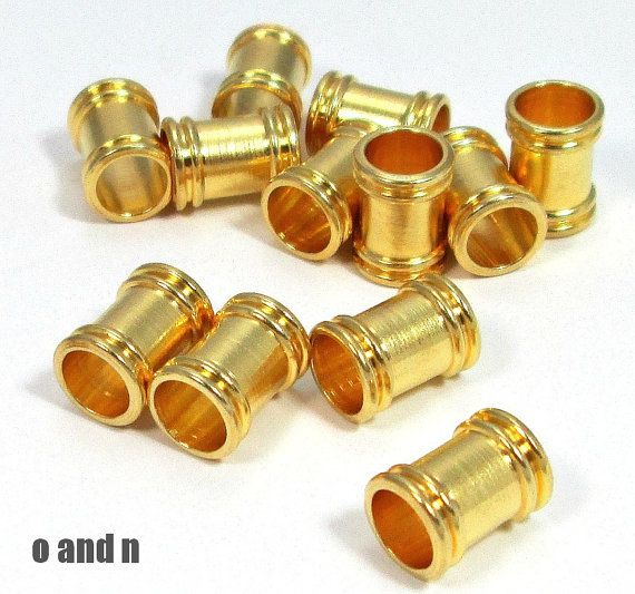 Gold plated tube beads 11mm   2 pieces by OandN on Etsy #goldplated #jewelrysupplies #diyjewelry