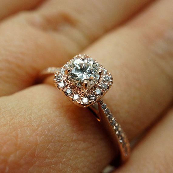 14k Rose Gold Solitaire Square Halo Diamond By Jamiekatesjewelry
