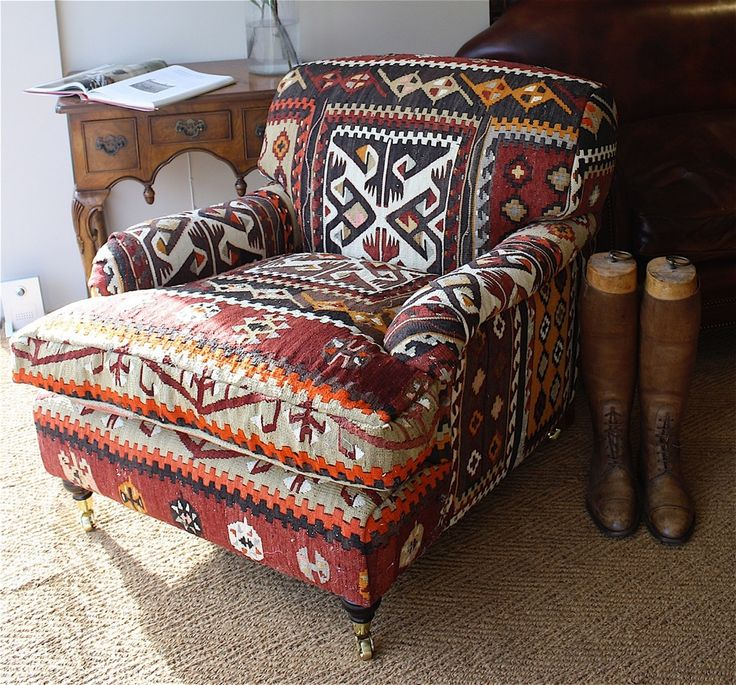 Strong Reds, Dash Of Orange, Black Definition In This Kilim Upholstered On  To Leather