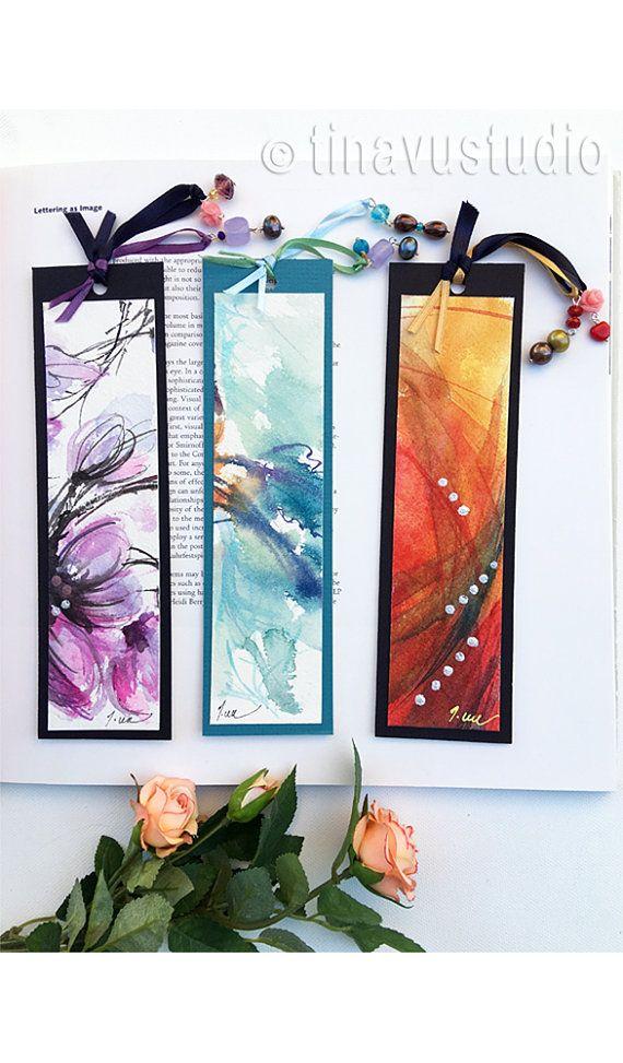 juego de 3 marcadores hechos a mano, únicos marcadores, marcador acuarela original, regalo de amante del libro, abstractos acuarelas, regalos de menos de 15 dólares