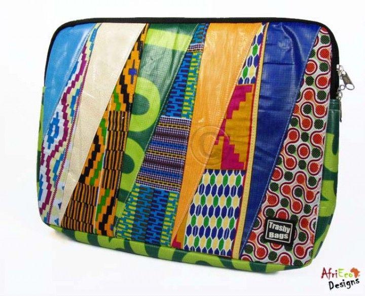 Afrikanische Stoffe -  Laptophülle Kombination Stoff/Werbeplane