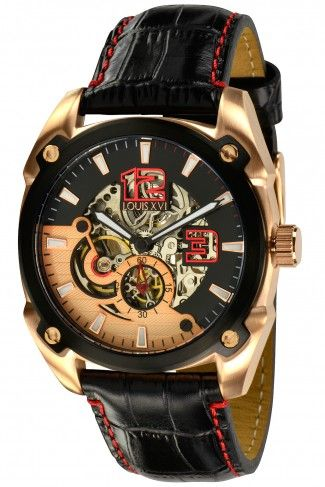 Louis XVI 799475002106 Rochefort l'or Rose Automatic Skeleton Watch For Men
