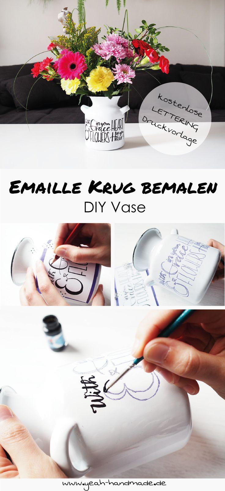 DIY Emaille Krug als Vase mit einem Lettering aus Porzellanfarbe selber machen. Lettering des Songtextes von After the Storm von Mumford & Sons zum Ausdrucken (free printable). Perfekt als Dekoration für die Wohnung oder als Geschenkidee. Kreative DIY Anleitung auf Yeah Handmade.