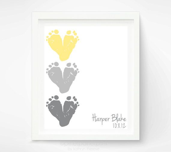 Yellow & Gray Nursery Decor  Baby Footprint by PitterPatterPrint,
