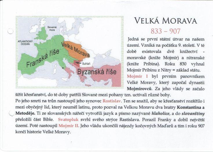 Velká Morava (Kartičky o Historii - Doporučuji zafoliovat a pak chronologicky ukládat do pořadače)