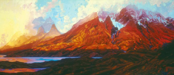 "Dominik Modlinski New Release:  Sunset Over the Torres. Giclee Canvas signed and numbered print.  Edition size 99. Dimensions 27""x60"