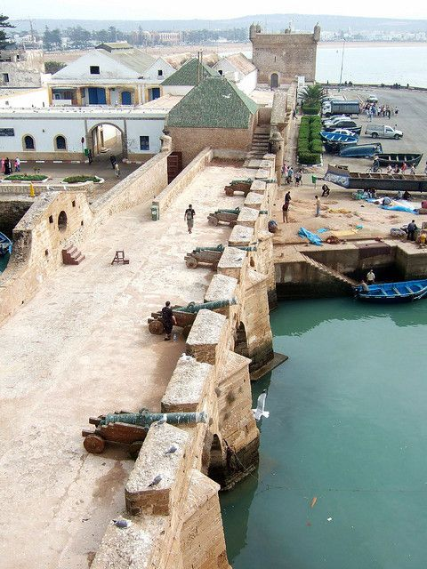 Essaouira, Morocco. Barefoot children ran along the top of this bridge, jumping the cannons.