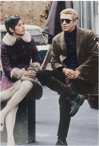 Steve McQueen and wife Neile, on the set of 'Bullitt'