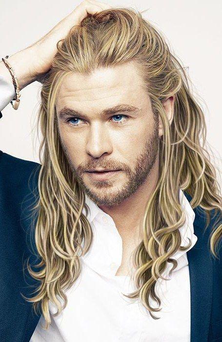 hair blonde Men long with
