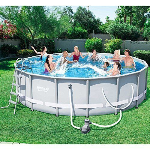 Steel Frame Above Ground Outdoor Swimming Pool Set w/ Pump Ladder 6 Cartridges + #AboveGroundPool