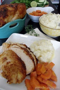 Pollo rostizado en la crockpot u olla de cocción lenta con puré de papa y zanahorias – www.pizcadesabor.com