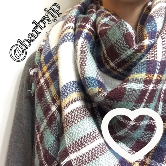 """Blanket Scarf - 2 left! ⭐️PLEASE⭐️ask me to create you a personal listing rather than purchasing this listing. Beautiful brand new tartan blanket scarf! Super soft ! Perfect addition to your winter wardrobe! 100% acrylic, 55x55"""" will come in plastic retail packaging! Check out my other blanket scarves too! ❤️ Accessories Scarves & Wraps"""