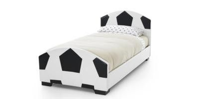 Pallone 3ft #Single Black & White Faux Leather #Bed #Frame