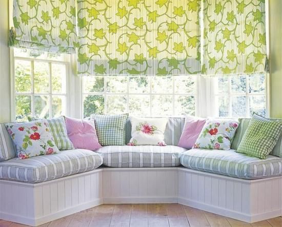 .window seat in pastel colors