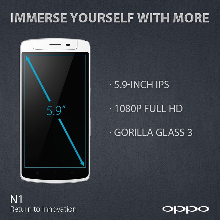 N1 features a 5.9-inch Full HD display with 1920x1080 resolution clocking in at 377 PPI.  http://en.oppo.com/n1/ #OPPON1