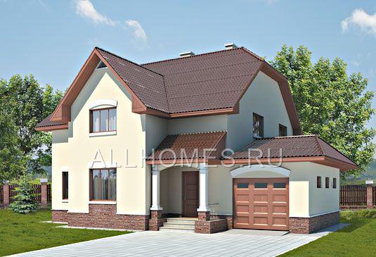 Готовый проект дома с традиционными фасадами и гаражом