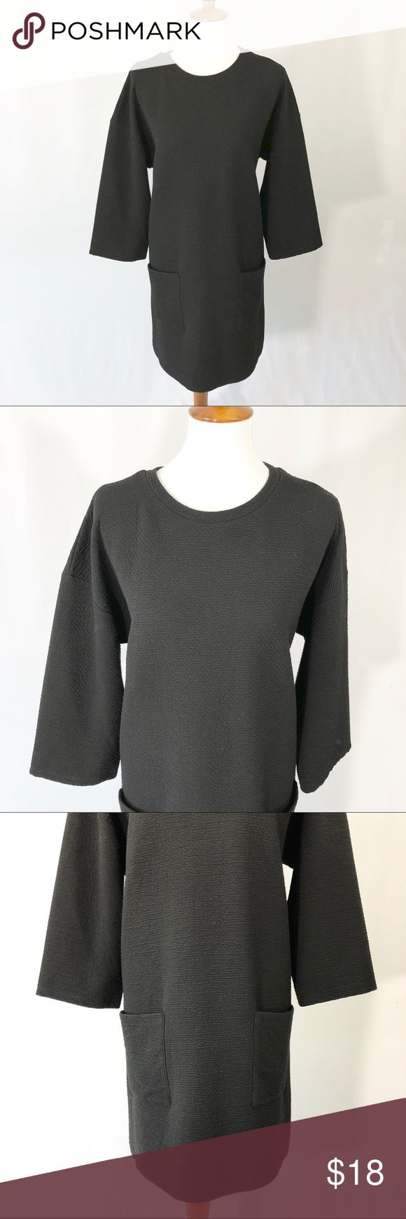 "& Other Stories tunic dress Black & Other Stories tunic dress. Size 12. Chest 22"", Sleeve 24"", Length 35.5"". Garment measured laying flat. Oversized fit with front pockets. Polyester/viscose/elastic blend. Super soft. No try ons please. & Other Stories Dresses Long Sleeve"